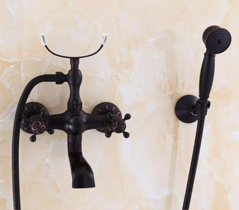 Gyps Faucet Waschtisch-Einhebelmischer Waschtischarmatur BadarmaturSchwarz voller Kupfer Dusche retro einfache Badewanne Wasserhahn warmes und kaltes Wasser mischen Ventil C,Mischbatterie Waschbecken