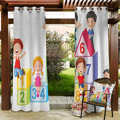 Educational Outdoor Privacy Curtain for Pergola Happy Kids Boys and Girls with Number Blocks Triangle Rectangle and Square Polyester Material 120x96 INCH,Multicolor