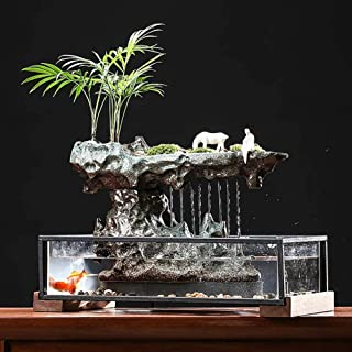The Design of The Micro-Landscape of The Glass Fish Tank Water Flow Device with Solid Wood Base Gives You A Perfect Underwater World
