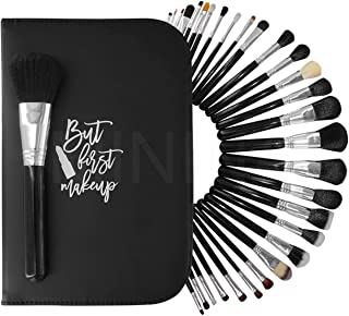 MININA Makeup Brush Set + CASE 29 PCS Organizer Organiser Bag Pouch Double Fold, Travel Cosmetic Portable Waterproof Ladie...