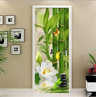 LOVEJJ Sticker Porte Bambou Déco Murale Qualité HD Poster Sticker de Porte PVC Douche Bureau Salon Toilettes Couloir Cuisi...