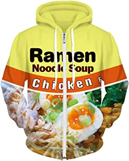 Mens 3D Chicken Noodles Jacket Spring Zipper Hoodies Unisex Couple Coat Oversized Blouse Uniform Tops