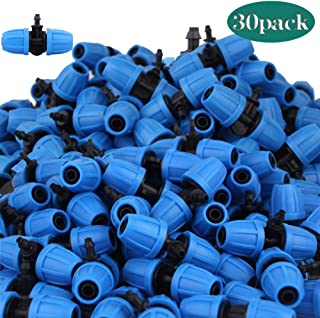 Lhx 30 pcs Locknut Equal Diameter Tees Garden Hose Connector High-Efficiency Screw Cap T-Shaped Connector 4/7mm PE Hose Garden Connector Garden Irrigation Watering System Accessories (Blue 02)