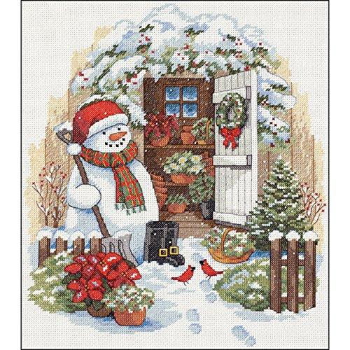 DIMENSIONS - Patrón para Cuadro de Punto de Cruz, diseño de muñeco de Nieve en jardín