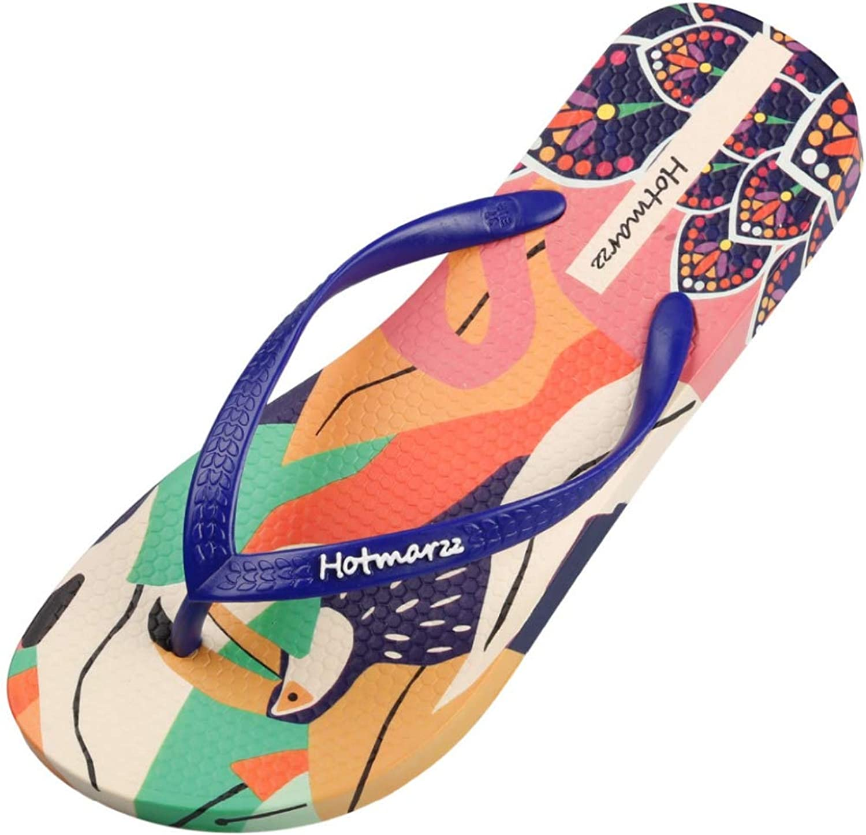 MEIZOKEN Women Beach Flip Flops Cartoon Flamingos Print Slippers Casual Summer Pool Shower shoes Sandals