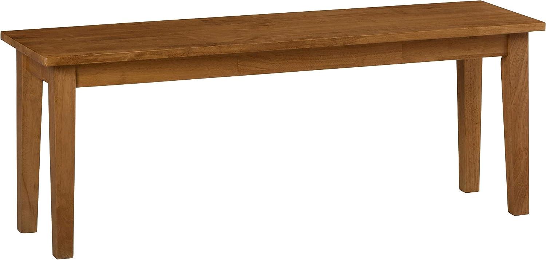 Benzara BM184053 Wooden Bench with Block Legs, Brown