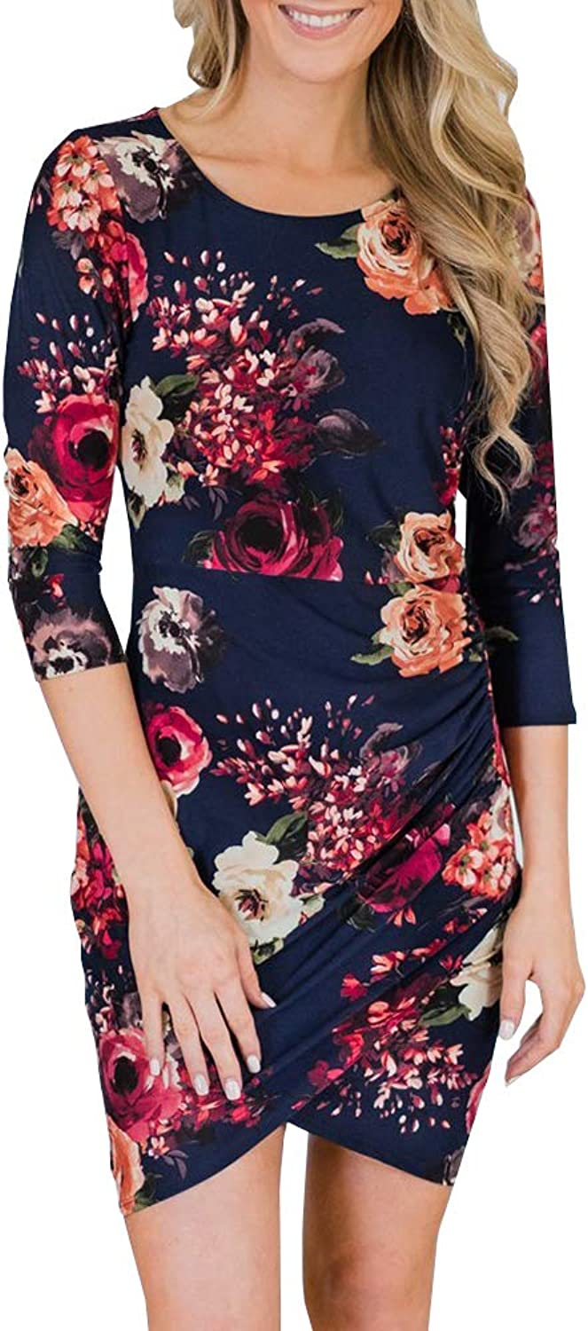 CNJFJ Womens 3 4 Sleeve Fall Dress Floral Wrap Hem Bodycon Cocktail Party Mini Dress