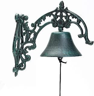 Sungmor Heavy Duty Cast Iron Rustic Style Wall-Mounted Hand Bell | 10.8×9.05Inch,Dark Green | Aristocratic Logo Wrought Iron Door Bell | Classic Sculpture for Garden Patio Villa Cafe,etc