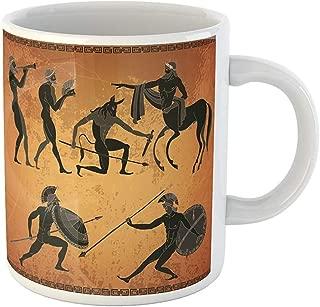 Funny Gift Personalized Coffee Mug Ancient Greece Scene Greek Mythology Centaur People Gods of Olympus Classical 11 Oz Ceramic Coffee Mug Tea Cup Souvenir