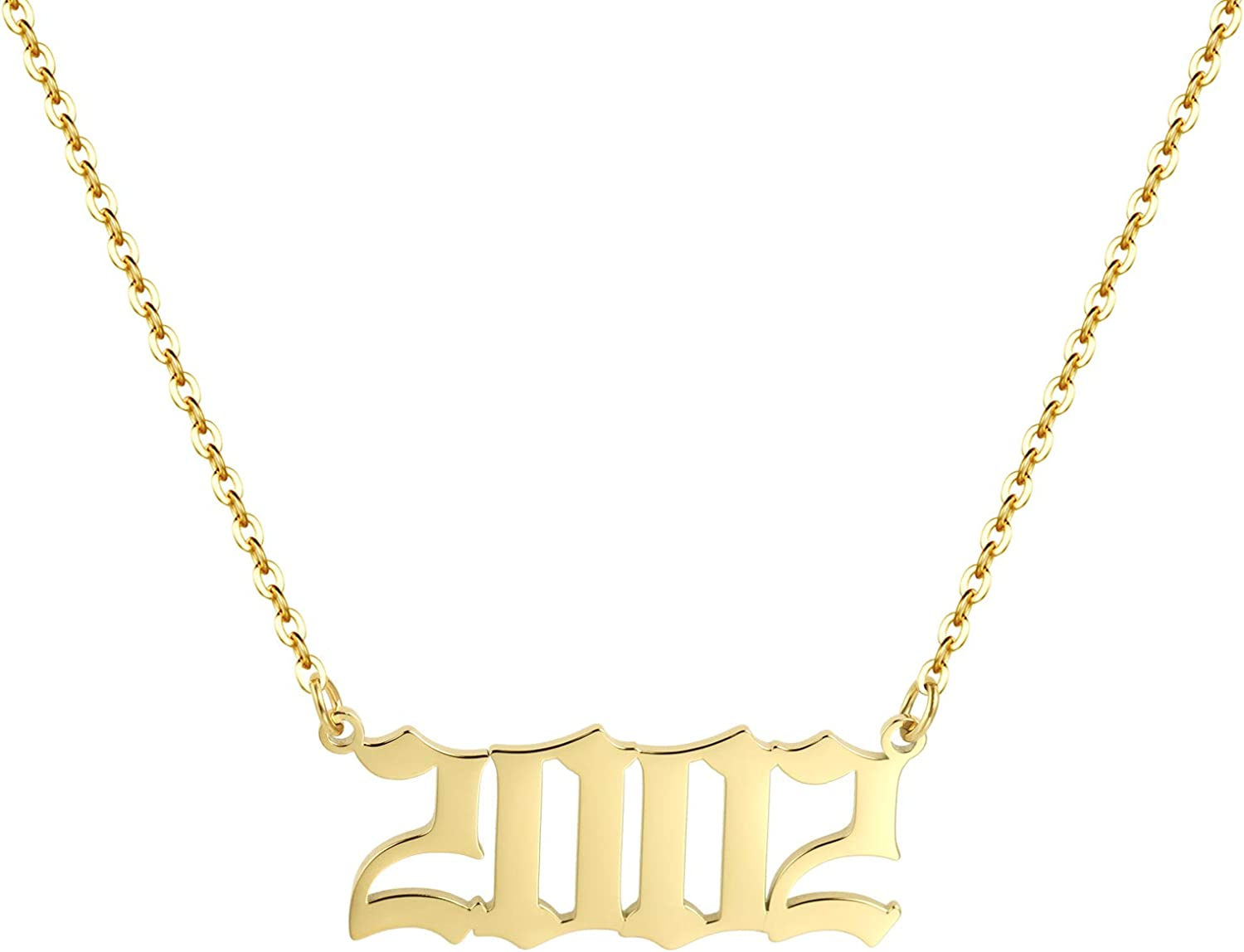 Aimber Birth Year Necklace 18K Gold Plated Birth Year Number Pendant Necklace Stainless Steel Birthday Year Necklace for Women,1970-2024