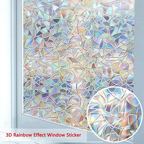 Window Privacy Film, 3D decoratieve glasfilm Verwijderbare zelfklevende glassticker Static Cling Window Paper, 45x200cm