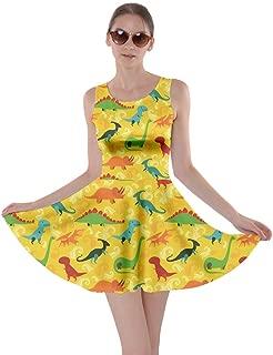 CowCow Womens Tyrannosaurus Triceratops Rex Dinosaur Jurassic World Skater Dress, XS-5XL