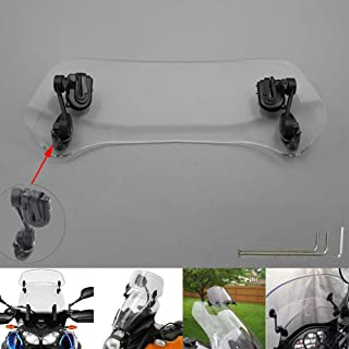 Motoparty Motorcycle Windshield Extension - Universal Adjustable Clip-on - Fits Honda Suzuki Kawasaki Yamaha BMW Harley Buell Triumph Ducati Aprilia and more Motorcycle Windshields