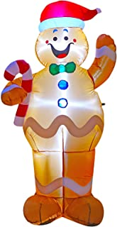 inslife 7 Ft Height Christmas Inflatable Gingerbread Man Decorations Hold a Candy Stick Decoration for Indoors Outdoors Yad Home Garden Lawn