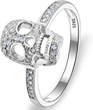 EVER FAITH Women's 925 Sterling Silver Zircon Gothic Skull Statement Party Ring Clear