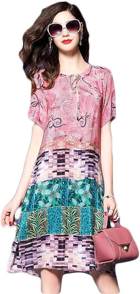 Dongjiguang Dress, Dress Print Loose Color Five-Point Sleeve V-Neck Mid-Skirt 6 Colors 6 Sizes (Color : F, Size : L)