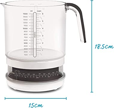 Salter Mechanical Kitchen Scales – 1.5 Litre Jug Scale, Dishwasher Safe Pourable Mixing Bowl, Cooking, Baking, Food, Liquid W