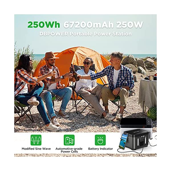 DBPOWER Portable Power Station, 250Wh 67200mAh Backup Lithium Battery 110V/250W (Peak 350W) Pure Sine Wave AC Outlet…