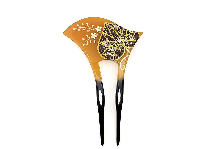 (ソウビエン) バチ型簪 べっ甲色 鼈甲色 べっこう色 黒 葵 葉 桔梗 花 蒔絵調 二本足 髪飾り かんざし フォーマル ヘアアクセサリー 日本製