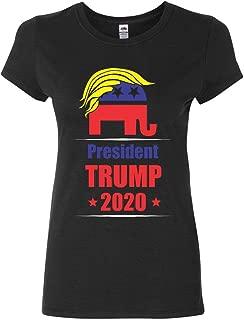 President Trump 2020 Women's T-Shirt Funny GOP Elephant with Trump Hair Shirt