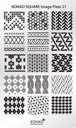 Original KONAD Stamping Square Image Schablone Plate 21 Nailart Abstrakt Streifen Karo Retro Style