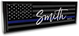 Thin Blue Line Flag Wall Decor, Personalized Police Officer Gifts For The Home | Deputy Sheriff Law Enforcement Last Name Art | Black Framed 10