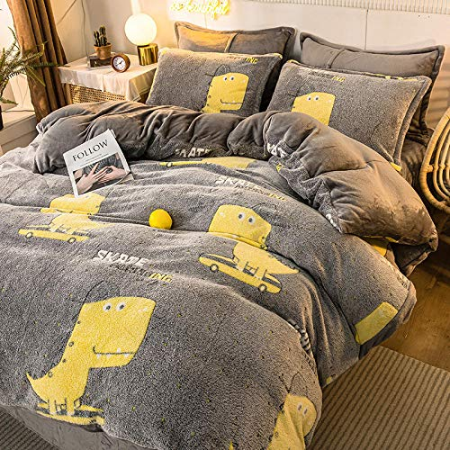 Bedding-LZ grey duvet cover-Winter flannel thickened snow fleece four-piece warmth plush white duvet cover double-sided velvet bed sheet duvet cover pillowcase-Q_1.2m bed (3 pieces)