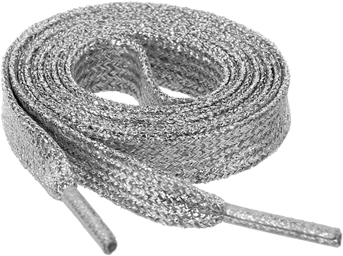 Allegra K Glitter Shiny Metallic Sparkling Shimmery Flat Sneakers Shoelace Shoe Laces Strings Silver 110CM : Clothing, Shoes & Jewelry