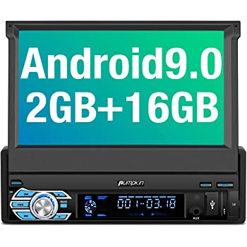 Support Android Auto WiFi SD//USB Backup Camera 7 Inch Flip Out Touchscreen PUMPKIN Android 10 Car Stereo Single Din with GPS Built-in DSP