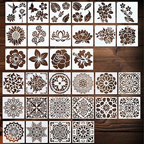 NEPAK 32 Piezas Las plantillas de mandala reutilizables (6 x 6 pulgadas) y las plantillas de flores (5,1 x 5,1 pulgadas) son adecuadas para madera,pintura,decoración de paredes etc