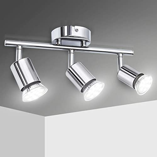 Plafonnier LED 3 Spot Orientable, Elfeland Spots LED 3xGU10 Luminaire Plafonnier Angle Réglable Style Moderne Éclaira...
