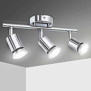Lámpara de Techo LED con 3 focos,Elfeland Plafón con 3 Focos GU10 Ajustable y Giratoria para Interiores 110V-220V Color Cromo Lámpara de Techo Orientable para Salón Dormitorio Sala de Estar