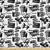 Lunarable Movie Fabric by The Yard, Vintage Film Cinema Motion Camera Action Record Graphic Style Print, Decorative Satin Fabric for Home Textiles and Crafts, 2 Yards, Black and White