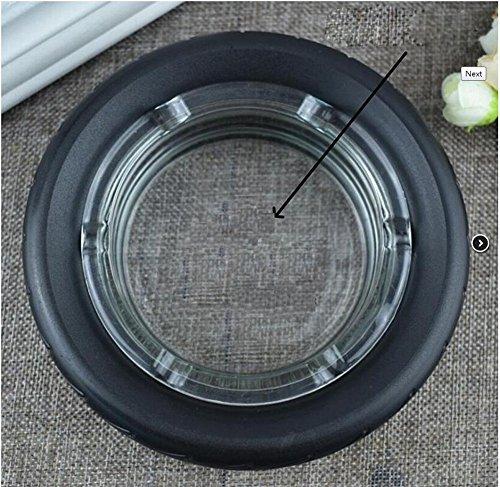 GyAfam Glazen asbak, zwart glas rubberen band 15 * 4cm asbak en banden type asbakken