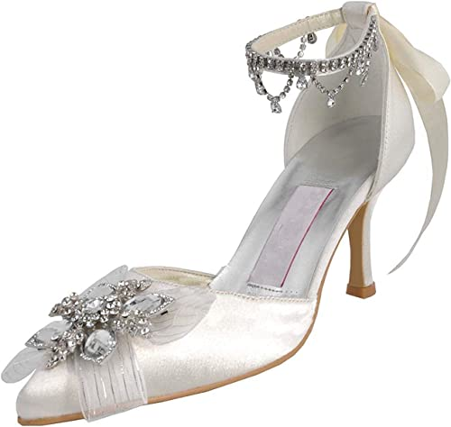 Hhor Femmes MZ547 Strass Chaines Satin Fete De Mariage Mariage Soirée Prom Bal Pompes Chaussures (Couleuré   blanc-7.5cm Heel, Taille   6.5 UK)  magasin discount