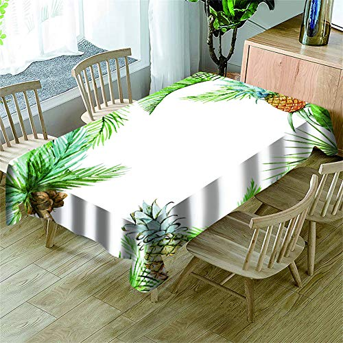 Morbuy Manteles Mesa Rectangular Antimanchas - 3D Fruta Piña Estampado Manteles Cuadrada Impermeable Lavable Mantel para Decoración Cocina Salón Jardín Comedor (Hoja de Palma,150x300cm)