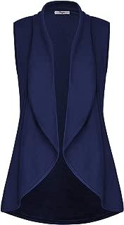 Cestyle Women's Lapel Open Front Sleeveless Vest Cardigans