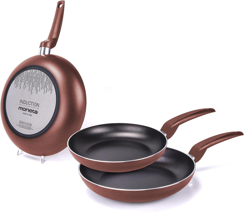 Moneta Stratomax, Juego de Sartenes 20+ 24+ 28cm, Aluminio, Color Cobre, para todo tipo de cocinas incluida inducción