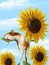 iFymei Paint By Number Kits Paintworks DIY Oil Painting for Kids and Adults (Sleeping cat and Sunflower Pattern)