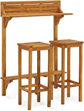 vidaXL Solid Acacia Wood Garden Furniture Set 3 Piece Wooden Outdoor Patio Balacony Bar Table and Chairs Stools Seating Fu...