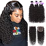 Wet and Wavy Bundles With Closure Water Wave 100% Human Hair Bundles With Closure Free Part 8A...
