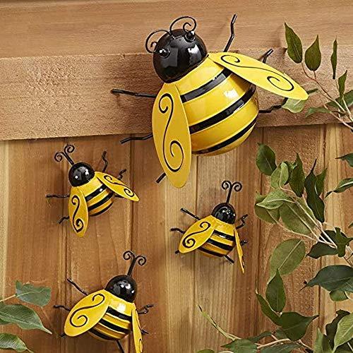 KNMY Metall Biene Dekorationen, Garten Wandkunst Biene, Metalldekoration Garten, 3D Biene Wandbehang Ornament für Garten im Freien, Biene Dekorative Wandkunst für Rasen Bar Zaun, Wand (4er Pack)