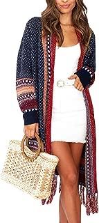 Women Boho Cardigan Open Front Long Maxi Knit Sweaters Aztec Tribal Tassel Fringe Thin Coat