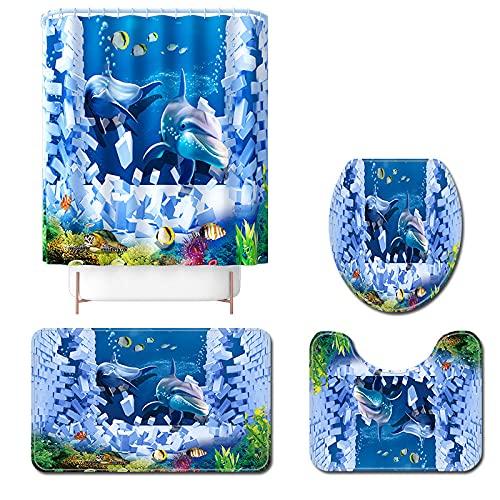 Claean-Acces-Home Alfombra De Baño Antideslizante Dibujos Animados Dolphin Bath Mat and Ducha Cortina Conjunto Anti Deslizamiento Baño Alfombra Franela Aseo Asiento Asiento Pie-4Pcs-616