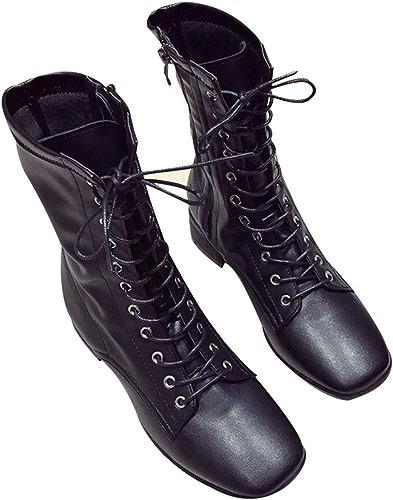 HBDLH Chaussures pour Femmes Petit Vent Tête Carrée La Hauteur du Talon De 3 Cm Locomotive Bottes Loisirs Martin Bottes Talon Velours Baril Bottes