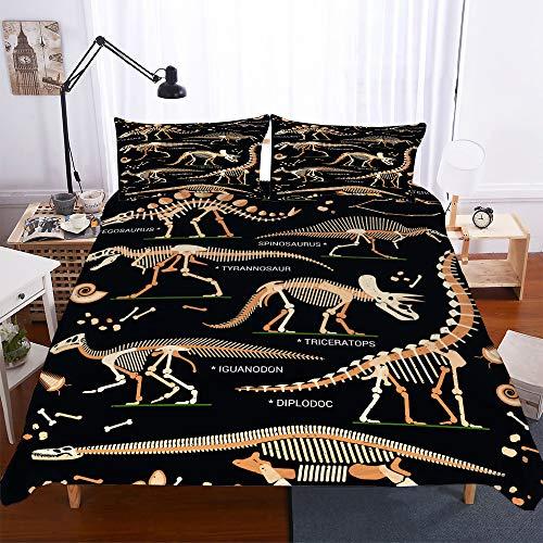 Fansu Duvet Cover Set Bedding Pillowcases Set, Dinosaur Print Single Bed Double King Bed Microfiber Duvet Set (Skeleton,135x200cm(2pcs))