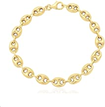 14K SOLID Yellow Gold 7.8MM Puff Mariner/Marina Chain Bracelet or Necklace - Puff Anchor chain