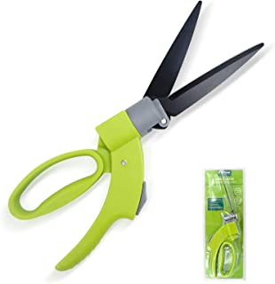 Hortem Grass Clippers, Manual Grass Shears for Swiveling 360 Degrees Trimming, Lightweight Grass Scissors with Sharp Blades