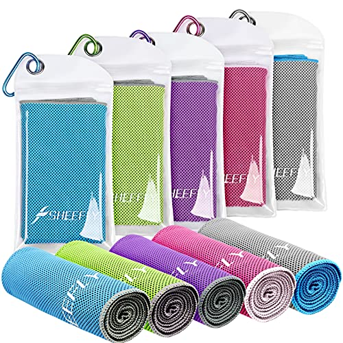 SHEEFLY 5 Packs Cooling Towel,Cooling Towels for Neck and Face,Soft Breathable Ice Towel for Instant Cooling Relief-40 x12 Super Absorbent Chilly Towel Sweat Workout Cool Towels for Sport Gym Yoga