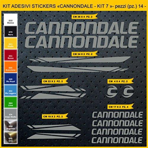 Pimastickerslab Aufkleber Fahrrad CANNONDALE- KIT 7 -Kit Aufkleber Stickers 14 Stück – bici Bike Cycle wählbar Cod.0920 (074 GRIGIO MEDIO)